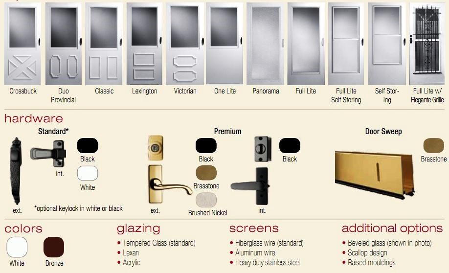 Aluminum Storm Door storm doors - window choices